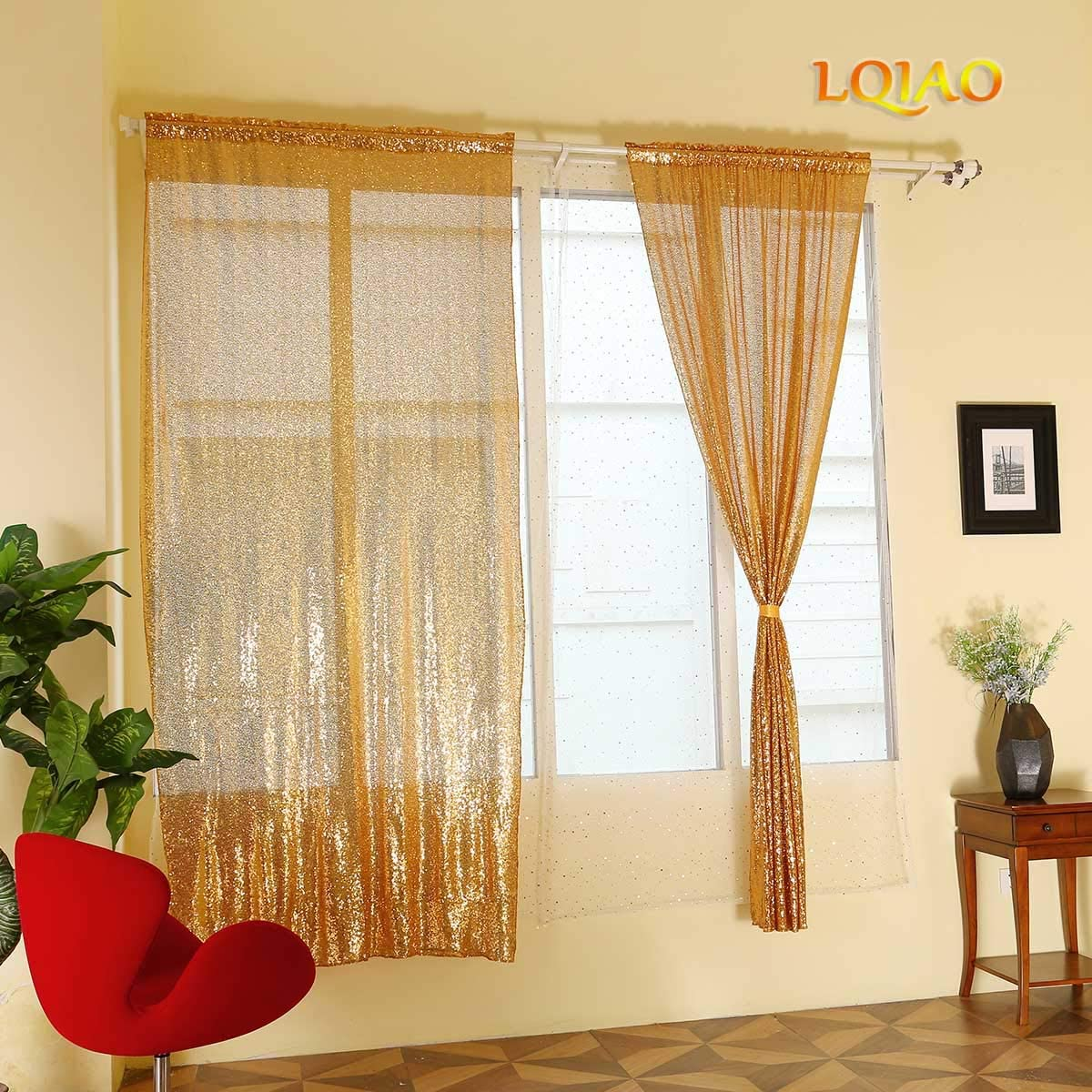 2PCS 4x6FT Gold Sequin Curtain Shimmer Sequin Fabric Photography Backdrop Luxury Curtains for Girl Bedroom Window Wedding Bed Living Room Elegant Drapes