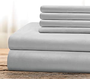BYSURE Hotel Luxury Bed Sheets Set 6 Piece(Queen, Light Gray) - Super Soft 1800 Thread Count 100% Microfiber Sheets with Deep Pockets, Wrinkle & Fade Resistant