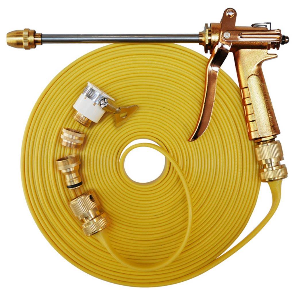 Car wash supplies Roscloud@ Metal High Pressure Washer Water Gun、Watering Gun Garden Hose Pipe、Car Washing/Plant Watering/Sidewalk Cleaning (Color : Brass, Size : 20M)