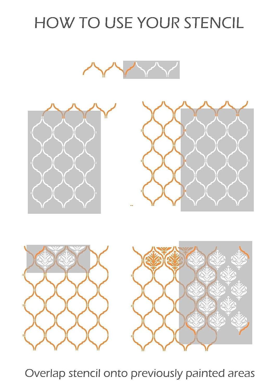 JASMINE TREILLIS /& DAMAS 2 Couches Meubles Mur Sol Pochoir Pour Peinture Meubles Moyen