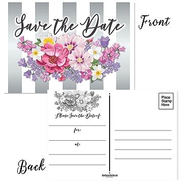Amazon Com 50 Floral Save The Date Postcards 4 X 6 Postcards
