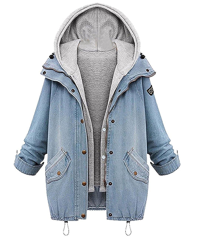 Jeans Felpa Donna Pullover Con Cappuccio Due Pezzi Sweatshirt Giacca Manica Lunga Taglie Forti Sciolto Mantel Giubbotto Felpe Hoody