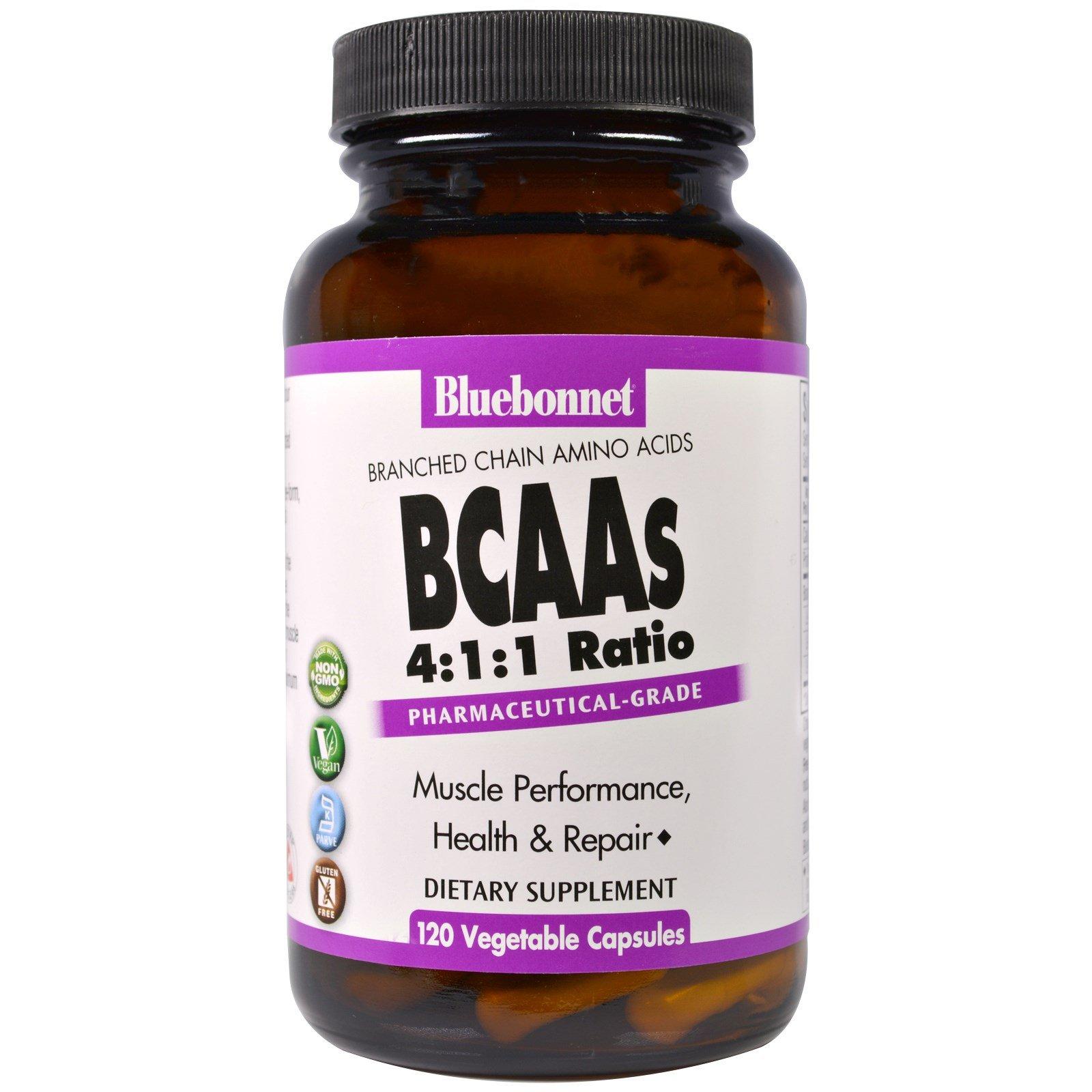 Bluebonnet Nutrition, BCAAs 4:1:1 Ratio (Branched Chain Amino Acids), 120 Veggie Caps - 3PC