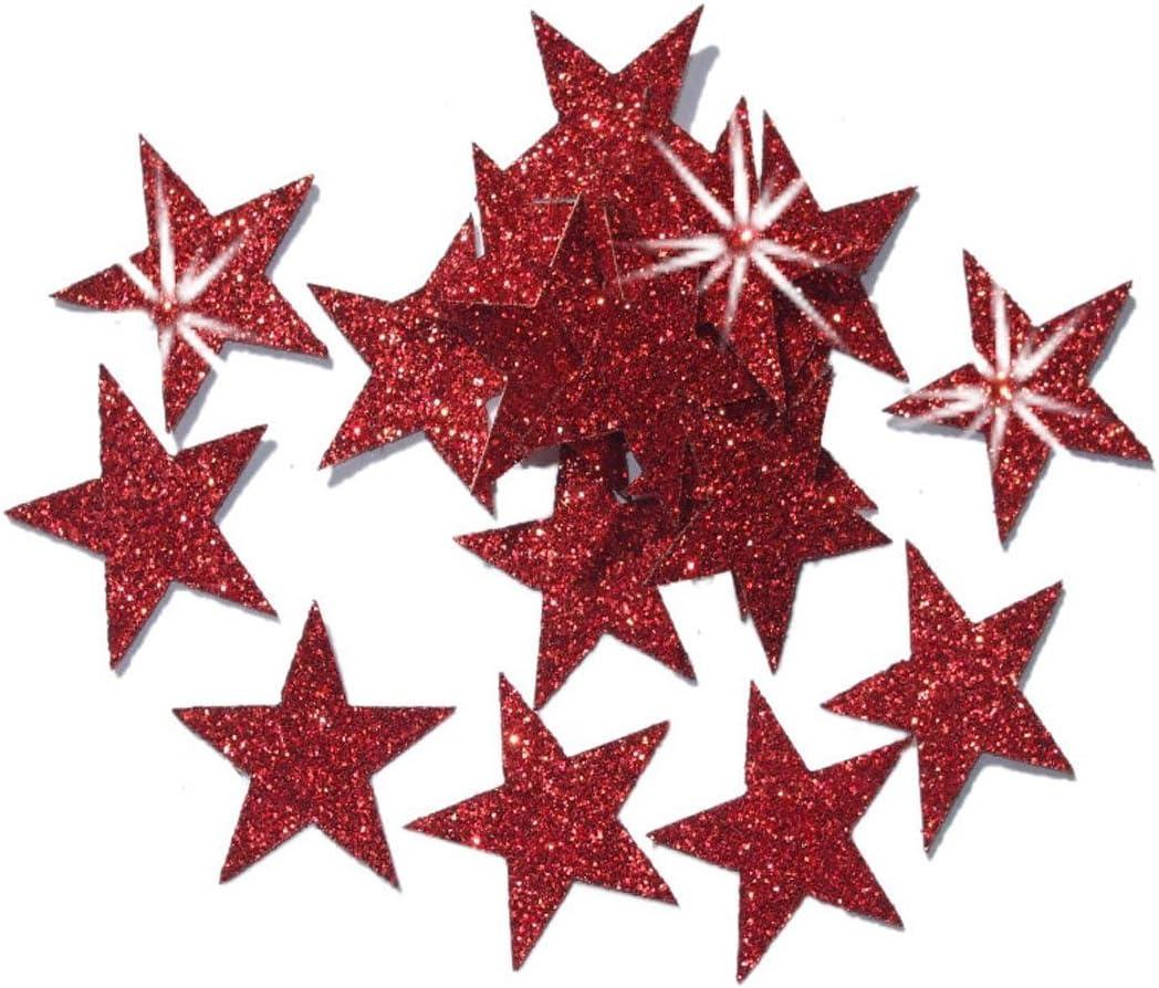 Baby Pink 2 Packs = 48 Fabric Glitter 1 Inch 25mm Stars Iron-On Fabric Transfer