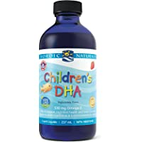 Nordic Naturals Children's DHA Liquid - Strawberry Flavored Fish Oil Supplement Rich In Omega 3 DHA, Supports Heart Health, Brain Development For Children During Critical Years, 237 mL