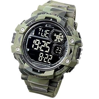 8327b8bdbf Amazon.co.jp: [ラドウェザー]ミリタリーウォッチ サバゲ― アウトドア メンズ腕時計 (カモフラージュグリーン(反転液晶)): 腕時計