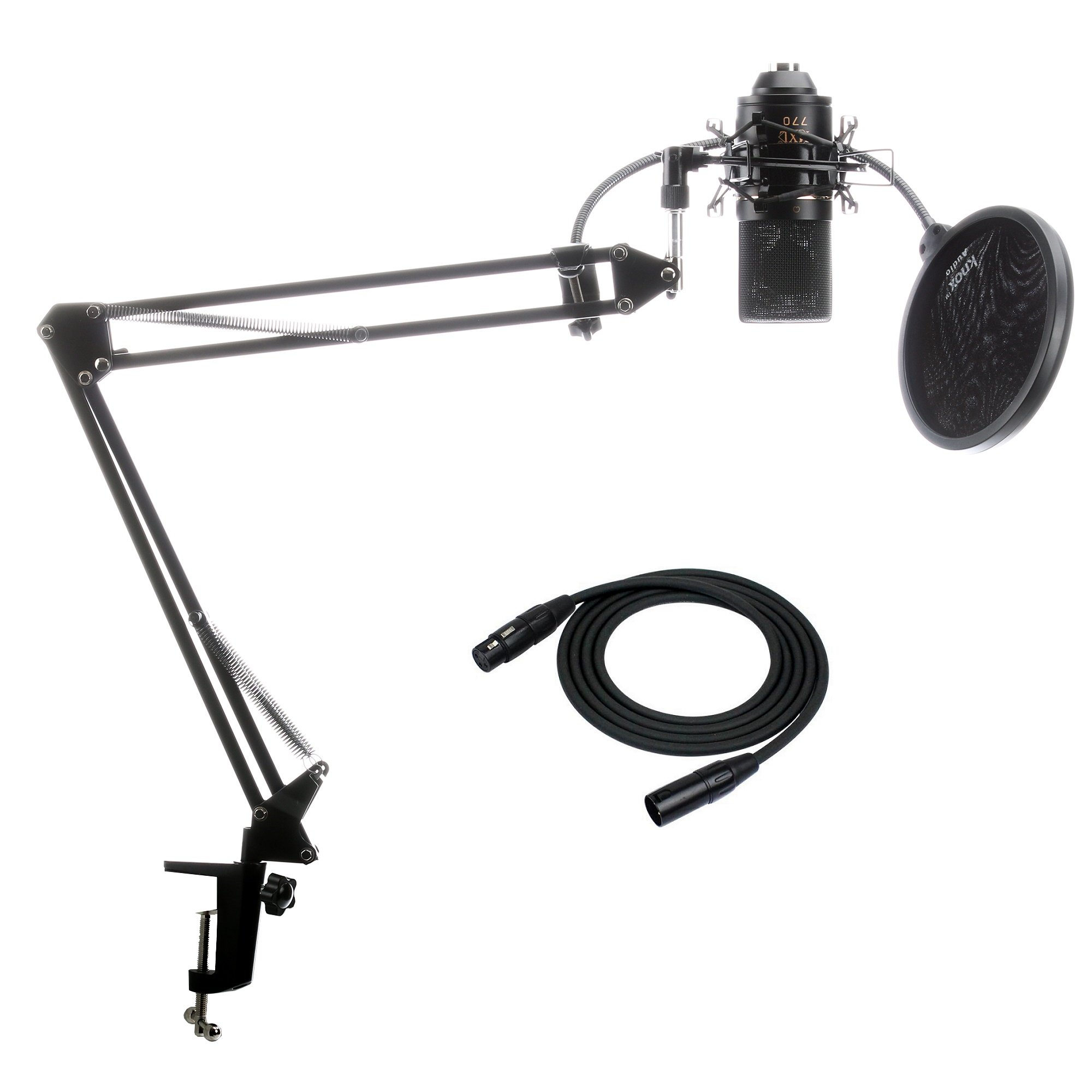 MXL 770 Microphone with XLR Cable Knox Suspension Boom Arm Stand and Pop Filter