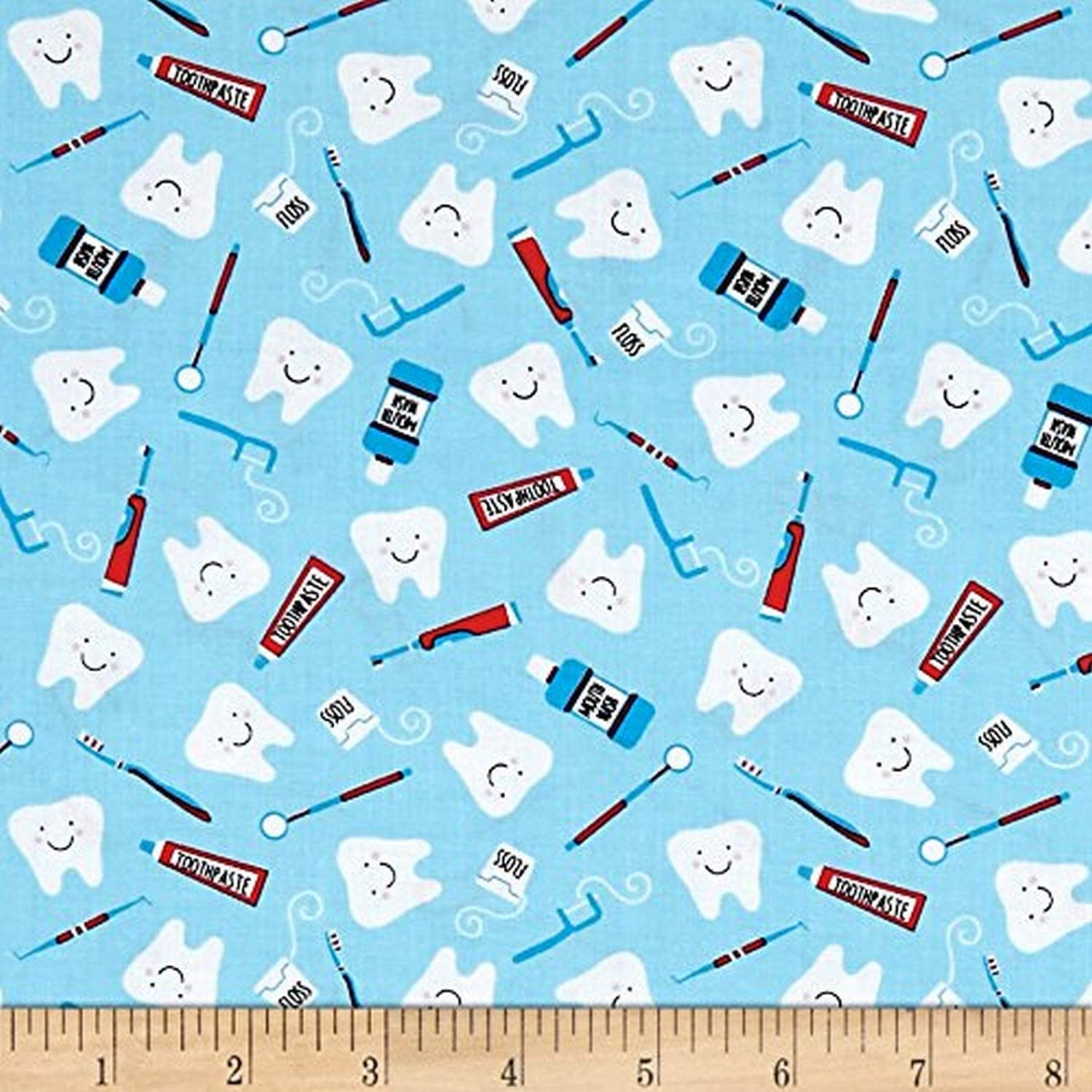 100/% Cotton Fabric Timeless Treasures Dentist Clean Teeth Tooth Paste Mouth Wash