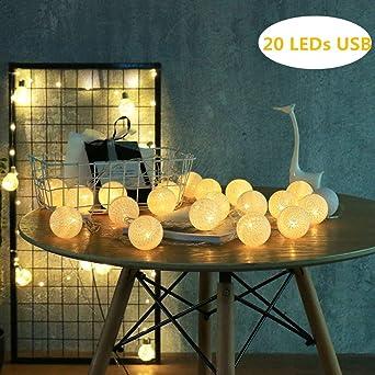 ELINKUME LED bolas de algodón luces de cadena alimentado por USB ...