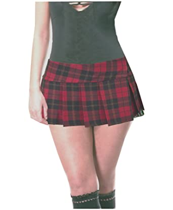 "0f7985e29 Burgundy and Black Schoolgirl Tartan Plaid Pleated Micro Mini Skirt Barossa  (28"" Waistband -"