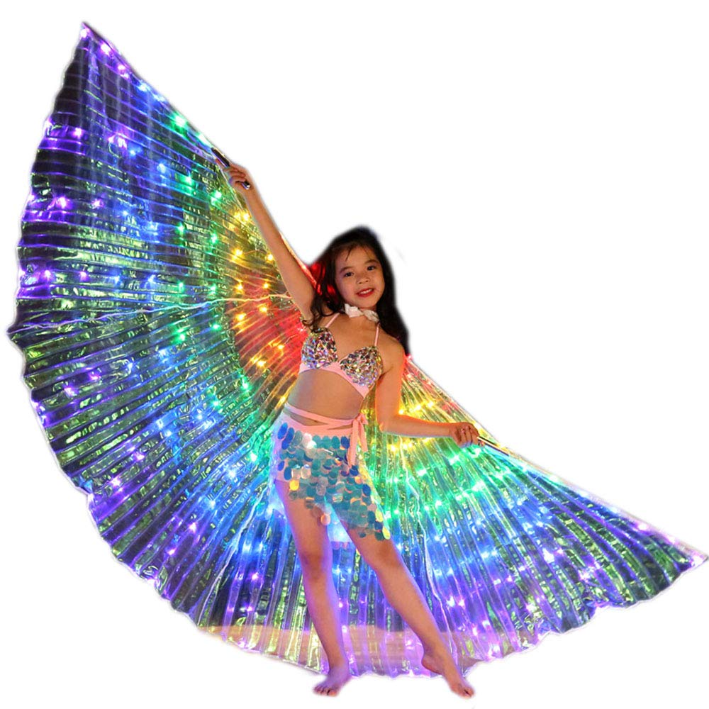 Belly Dance LED Angel Isis Wings Kids with Flexible Sticks Halloween Party (7#)