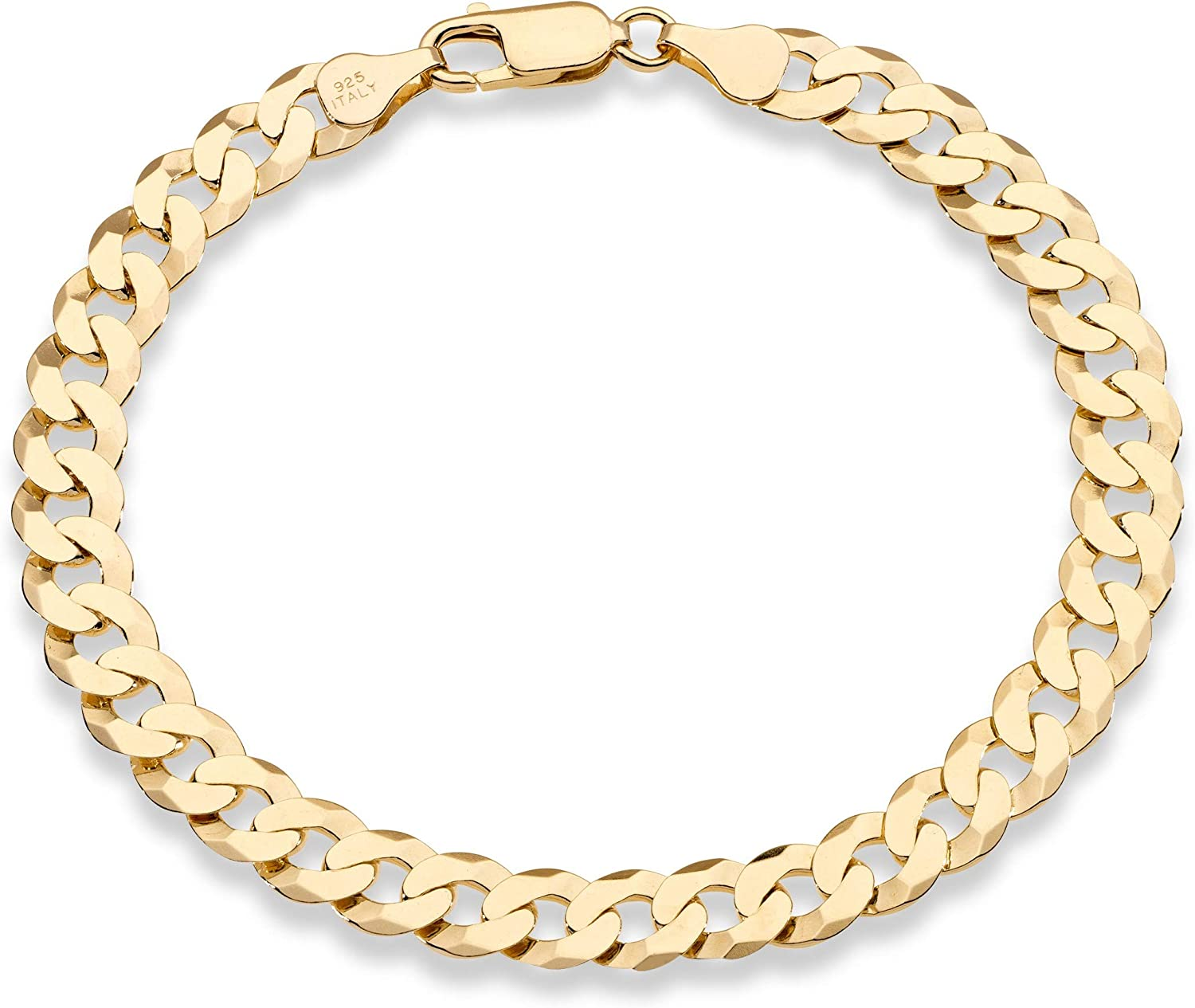 Miabella 18K Gold Over Sterling Silver Italian 7mm Solid Diamond-Cut Cuban Link Curb Chain Bracelet for Men Women 8, 8.5, 9 Inch, 925 Made in Italy
