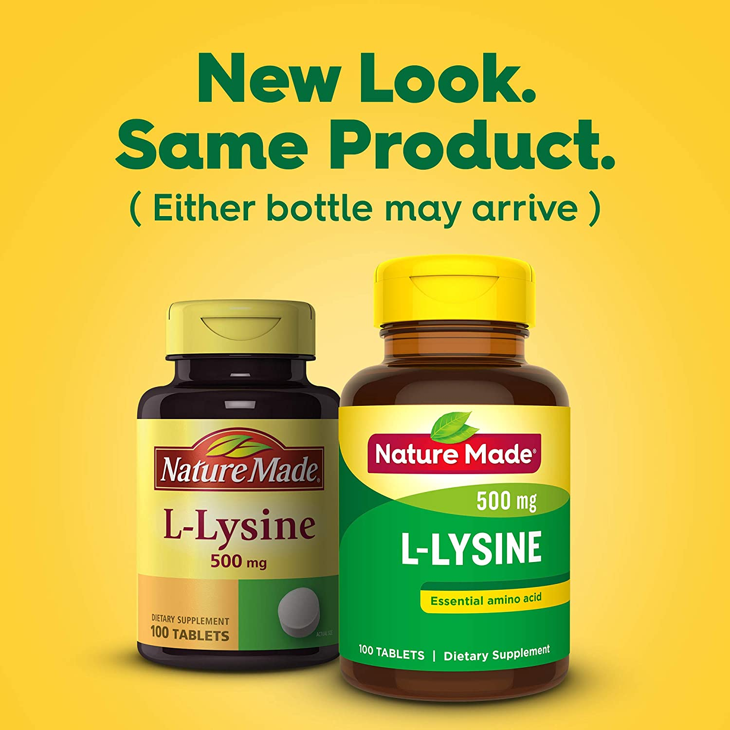 Nature Made L-Lysine Supplement Tablets, 500 mg, 100-Count Bottles Pack of 3