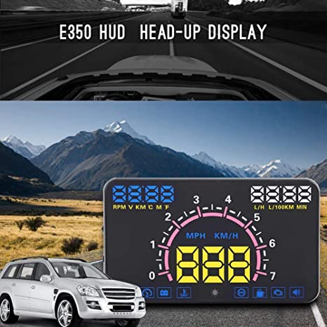 Cuque 5.8 Universal HUD Large HD Screen Head Up Display Plug /& Play Windshield Overhead Reflective Projector Easy for Read Distance Measurement Safe Driving Partner for OBD II//EUOBD