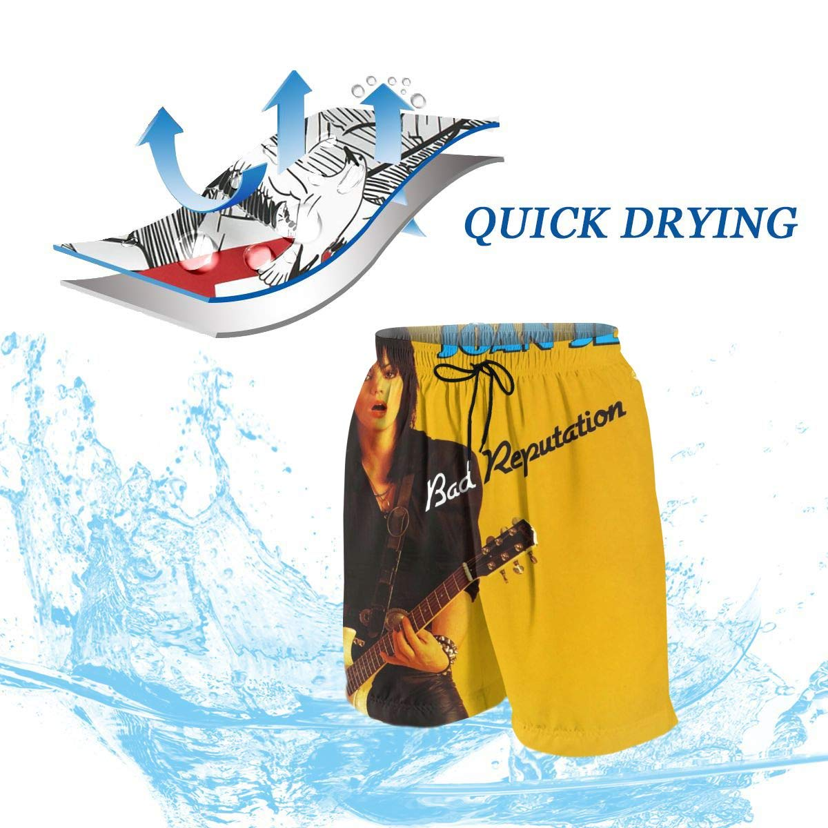 JacobKThompson Joan Jett Summer Adolescent Man Leisure Quick Dry Surfing Beach Shorts Elastic Band Pocket Drawstring