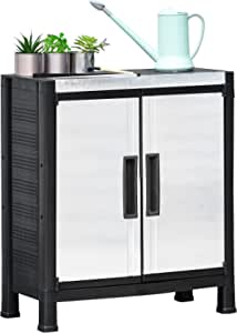 Outsunny Garden Storage Cabinet Adjustable Shelves Tool Shed Waterproof PP & Galvanized Steel Storage Organizer Indoor or Outdoor Use