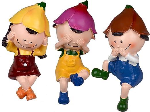 Set de 3 muñecos decorativos de resina, para uso interior y exterior, multicolor: Amazon.es: Jardín