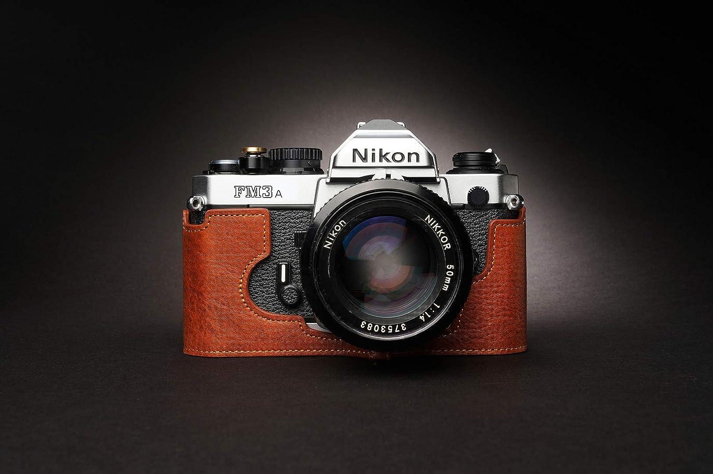Handmade Genuine Real Leather Half Camera Case Bag Cover for Nikon FM3A Sandy Brown Color