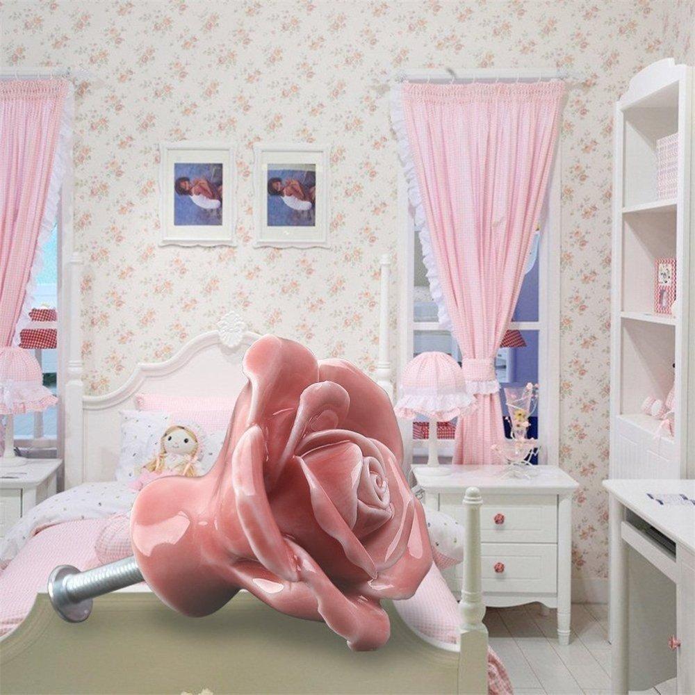 armario 8 pomos de cer/ámica para puerta de armario armario caj/ón con dise/ño de flores estilo vintage blanco puerta
