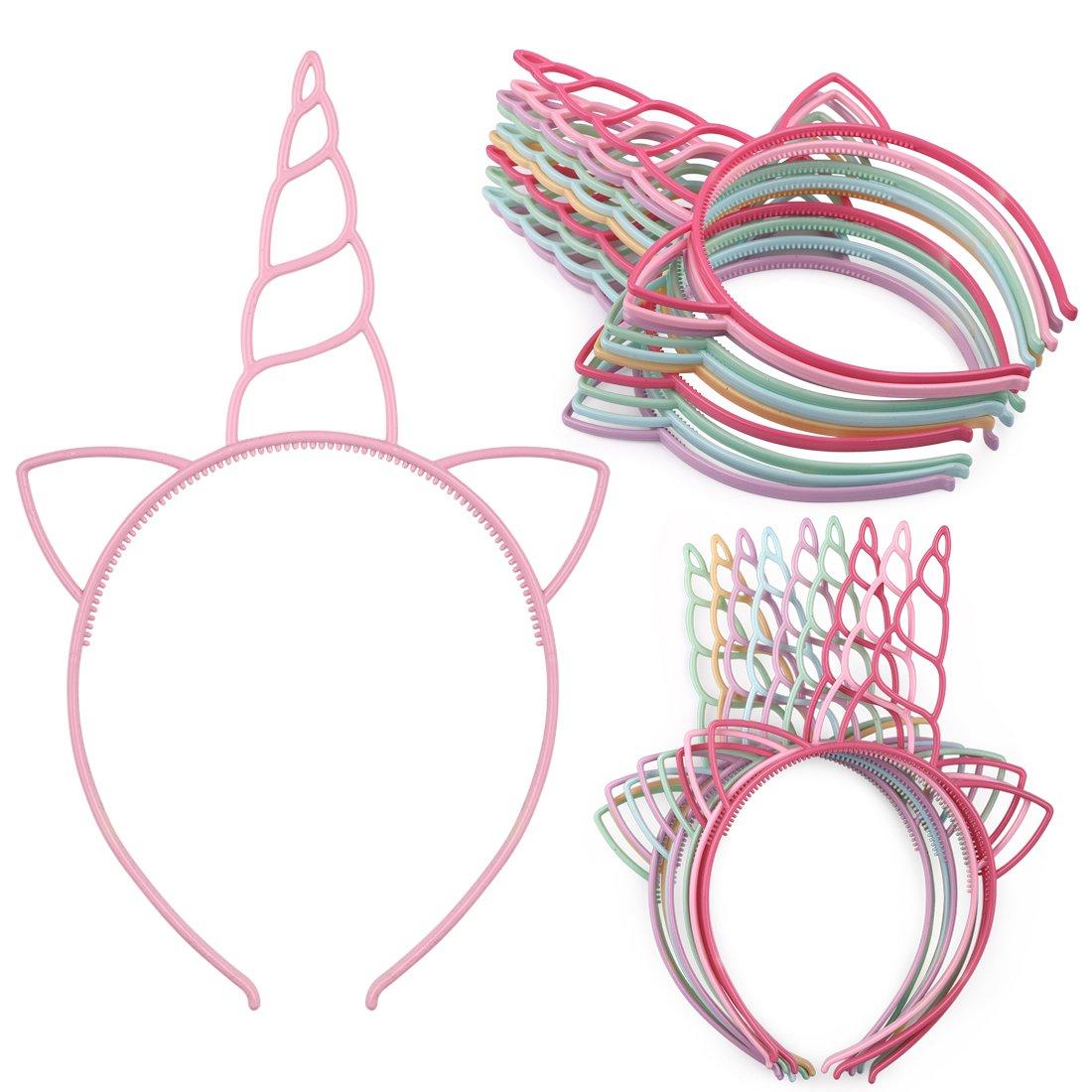 XIMA 12pcs Unicorn Girls Headbands Children Plastic Hairbands Headwear Hair Accessory for Kids Party Decorations(Spring color-Unicorn)