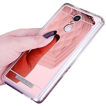 LXHGrowH Funda Espejo Silicona Gel TPU para Xiaomi Redmi Note 3 / Redmi Note 3 Pro Color Rosado