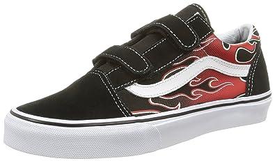 de189623f68d75 Vans Kids K Old Skool V Glow Flame Black RED KO Size 10.5
