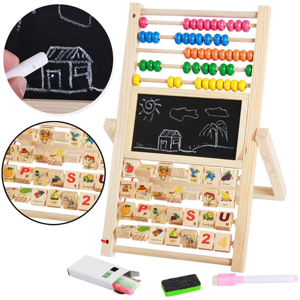 FeiliandaJJ Lernspielzeug Kinder 3 In 1 Multifunktionale doppelseitige magnetische kleine Tafel Hölzerne Blackboard Game Numbers Lernen Schicke Geschenke für Jungen und Mädchen (Mehrfarbig )