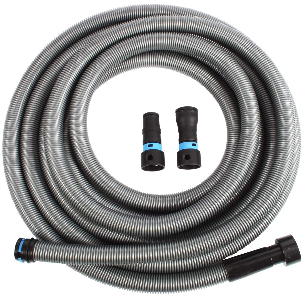 Cen-Tec Systems 94203 30 Ft. Hose for Home and Shop Vacuums with Universal Power Tool Adapter for Dust Collection, Silver by Centec Systems
