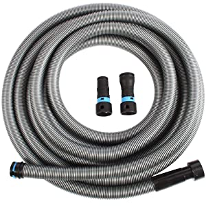 Cen-Tec Systems 94203 30 Ft. Hose for Home and Shop Vacuums with Universal Power Tool Adapter for Dust Collection, Silver