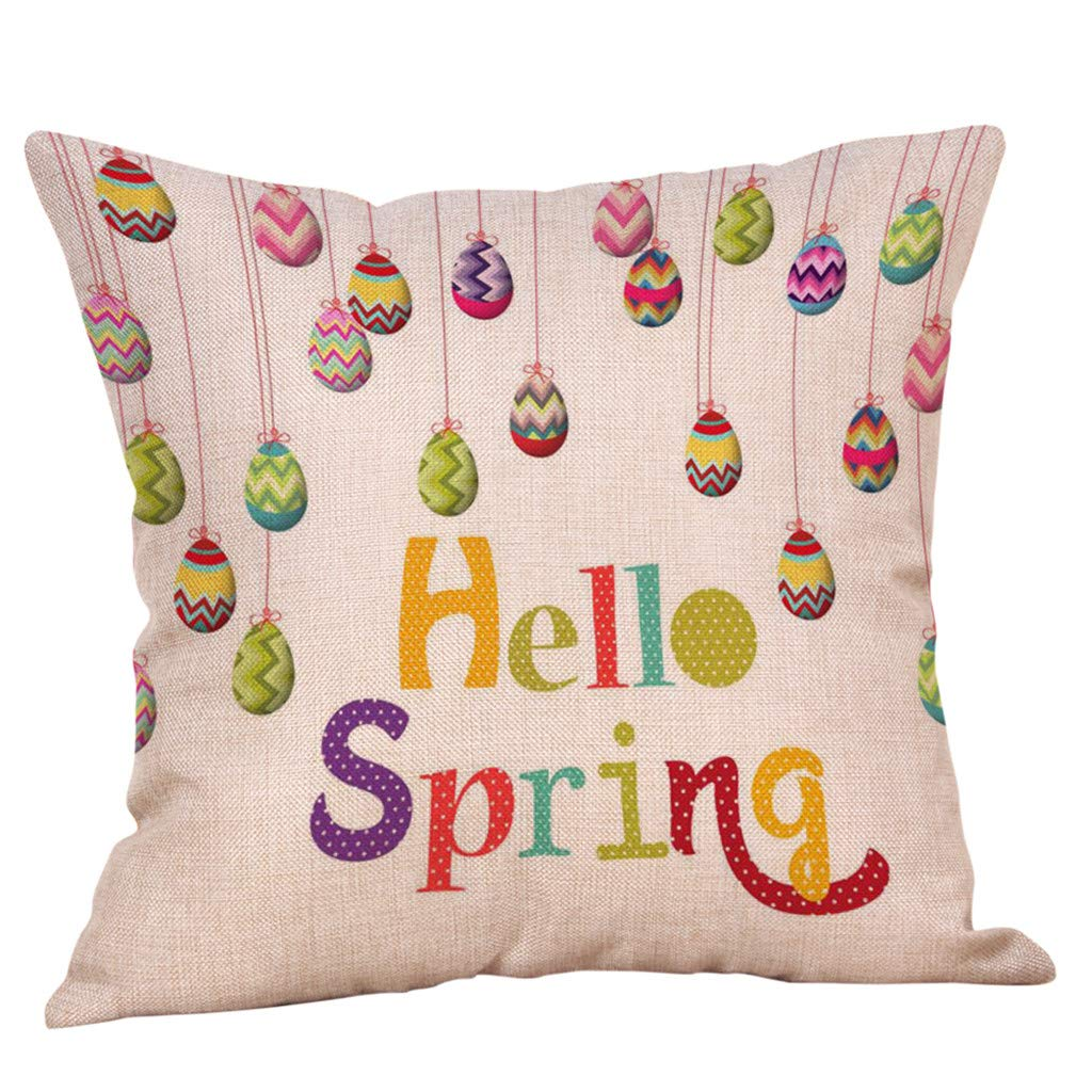 Easter Throw Pillow Cover Cushion Case Cotton Linen Material Decorative Square 18 Inches Easter Eggs & Bunny Feishe(E,18x18 Inch)