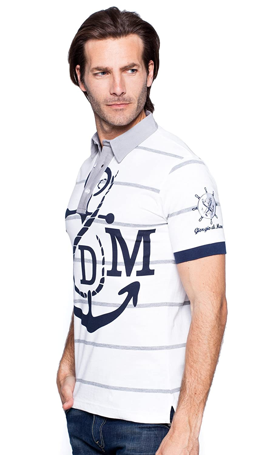 Giorgio Di Mare - Polo - para hombre White/Grey XXX-Large: Amazon ...