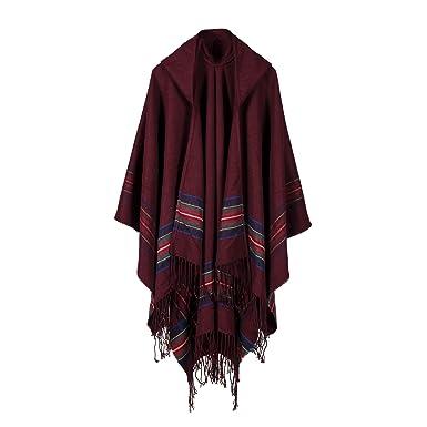 741ab49c26 Women s Poncho Cape Fashion Hooded Blanket Shawl Wrap Cardigans 16058 Red