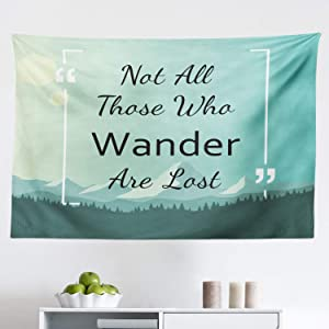 "Lunarable Not All Who Wander are Lost Tapestry, Words with Mountains and Forest Travel Wisdom, Fabric Wall Hanging Decor for Bedroom Living Room Dorm, 45"" X 30"", Mint Green"