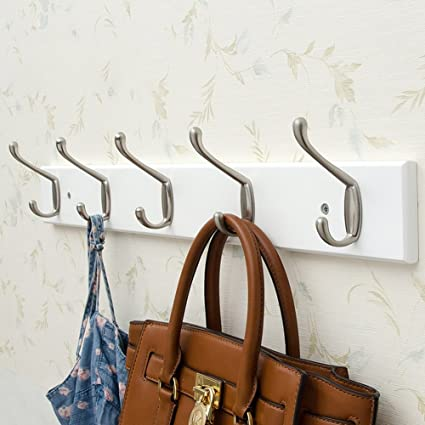 6c3e6d08062f Amazon.com: LIANGLIANG Wall Mounted Coat Rack Double Hook Single Row ...