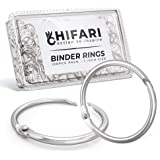 Hifari Pack 100 Binder Rings 1 Inch Nickel Plated Metal Book Rings for Index Cards, Keychain, Loose Leaf Paper, Notebook and More – Home Office School Supplies - Silver