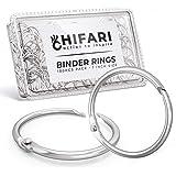 Hifari Pack 100 Binder Rings 1 Inch Nickel Plated Metal Book Rings for Index Cards, Keychain, Loose Leaf Paper, Notebook…