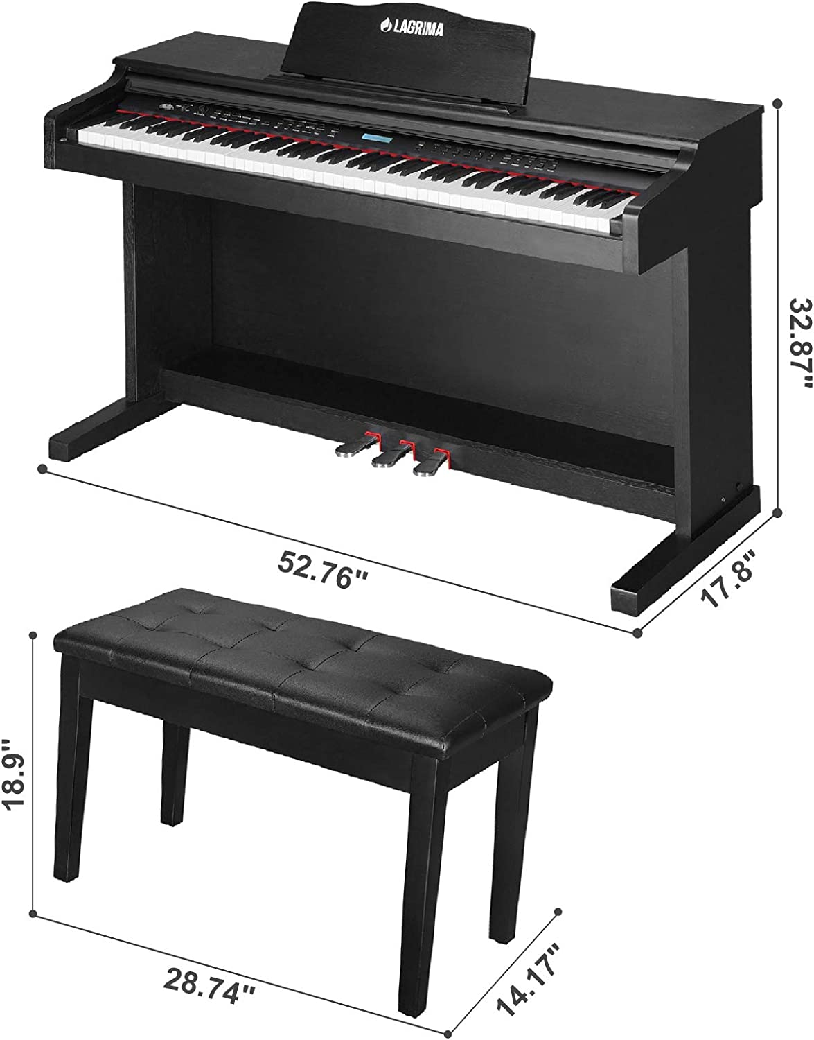 Black LAGRIMA 88 Key Digital Piano Electric Keyboard Piano for Beginner//Adults with 2 Person Padded Piano Bench+Music Stand+Power Adapter+3-Pedal Board+Instruction Book+Headphone Jack