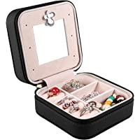 Travel Jewellery Organizer with Mirror Leather Mini Cosmetics Bag Women Portable Jewelry Storage Case for Rings Earrings Watch Makeup Necklace Bracelet Lipstick