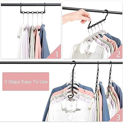 Plastic Magic Hangers Closet Storage Space Saver Wardrobe Clothes Hangers Organizer Black 6 Pack Timirog Space Saving Hangers Closet Organizers