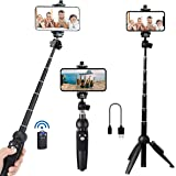 Portable 40 Inch Aluminum Alloy Selfie Stick Phone Tripod with Wireless Remote Shutter Compatible with iPhone 13 12 11 pro Xs