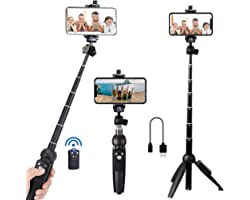 Portable 40 Inch Aluminum Alloy Selfie Stick Phone Tripod with Wireless Remote Shutter Compatible with iPhone 12 11 pro Xs Ma
