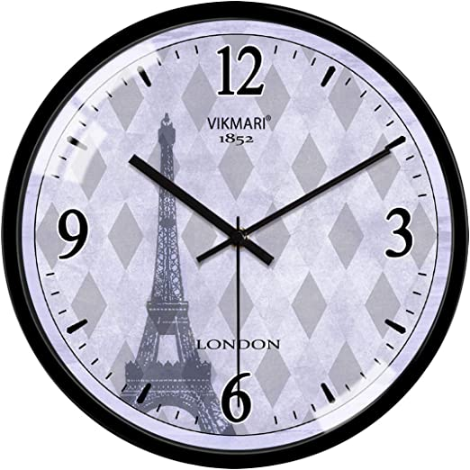 Non Ticking Wall Clock 12 Inch Round Silent Quartz Battery Operated Home Decor