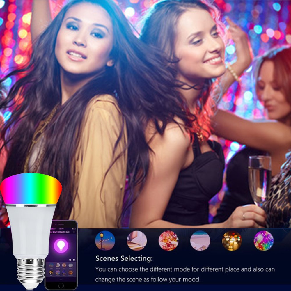 Smart WiFi Bulb,Weton Smart LED Bulb Multicolored Light Bulbs Work with Amazon Alexa Google Home, No Hub Required,Remote Control via Free App for Android & all Smartphones,Dimmable Light Sunrise Light by Weton (Image #7)