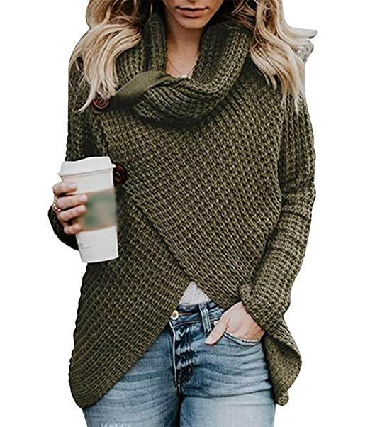 f16b54d6ba Lovelyduo Women s Turtleneck Sweaters T Shirt Knit Pullover Sweater Coats Cardigan  Army Green S