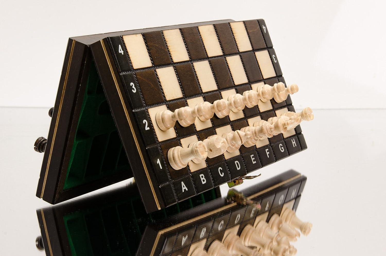 OSCURO MAGNÉTICA 28cm / 11in Pequeño Traveling Juego de ajedrez de madera con figuras magnetizados, hecho a mano clásico juego: Amazon.es: Juguetes y juegos