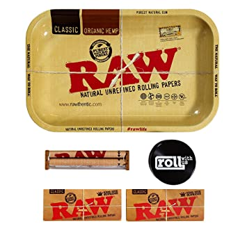 Raw Rolling Tray Small Bundle With 110mm Roller King Size Supreme Papers