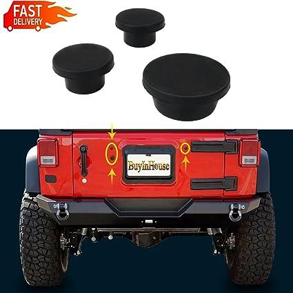 Upper Bound Jeep JK Wrangler Tailgate 3 Plastic Plugs Set For Tramp Stamp Spare Tire Carrier Delete Fits 2007 Thru 2019 Christmas Decoration