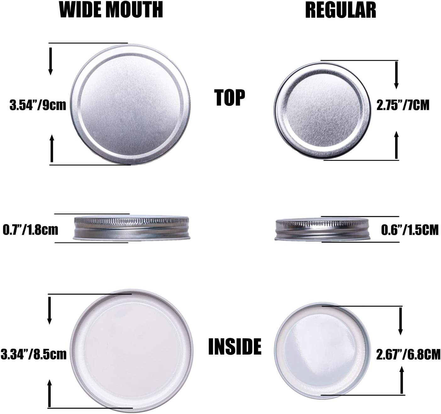 Leak Free and Air Tight Food-Grade Storage Caps for Canning Jars GUMBALL 16 Pack Mason Jar Lids 8 Wide Mouth /& 8 Regular Mouth Canning Lids