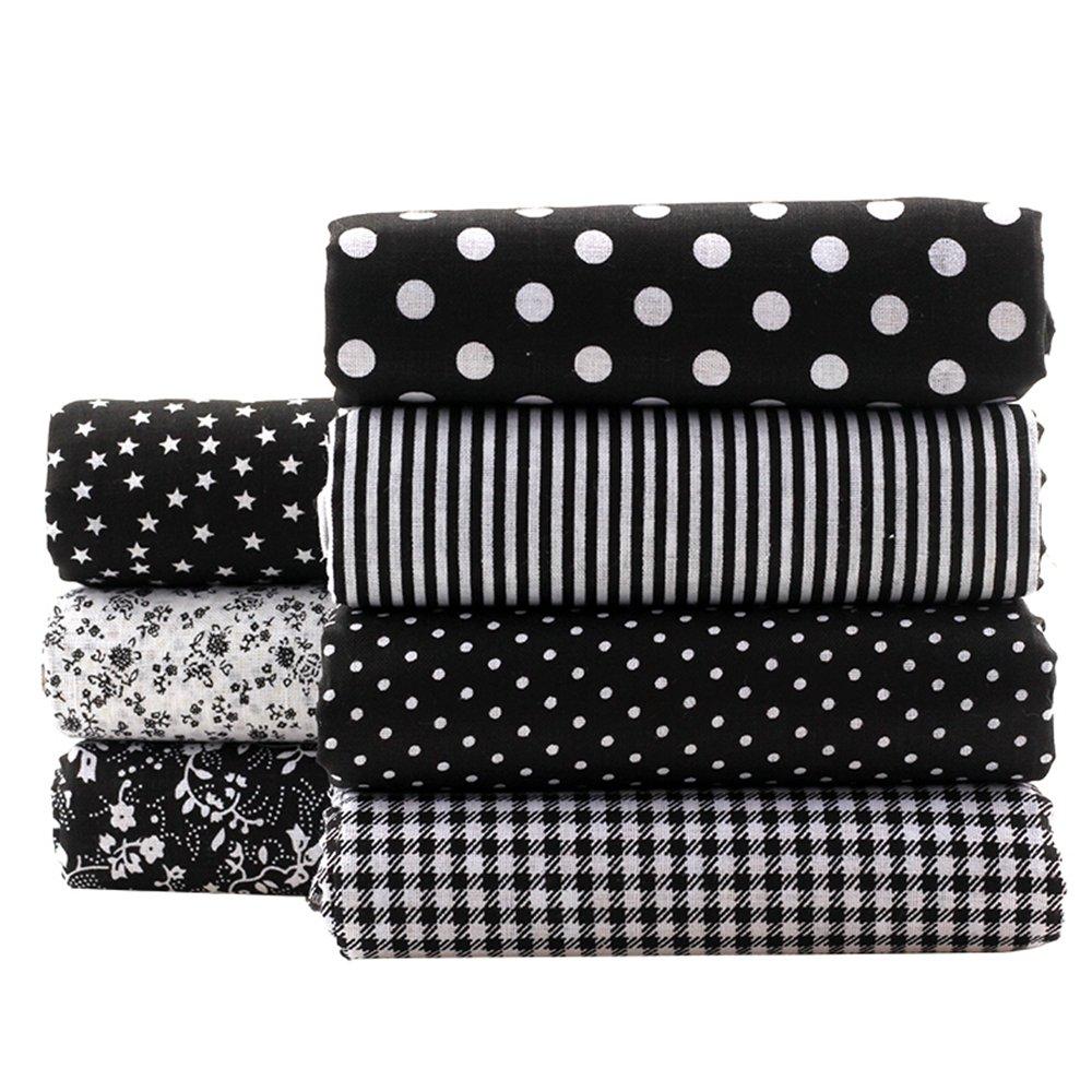 Black Series Floral Cotton Fabric Textile Quilting Patchwork Fabric Fat Quarter Bundles Fabric for Scrapbooking Cloth Sewing DIY Crafts Pillows 50X50cm 7pcs/lot Shuan Shou A1-7-8