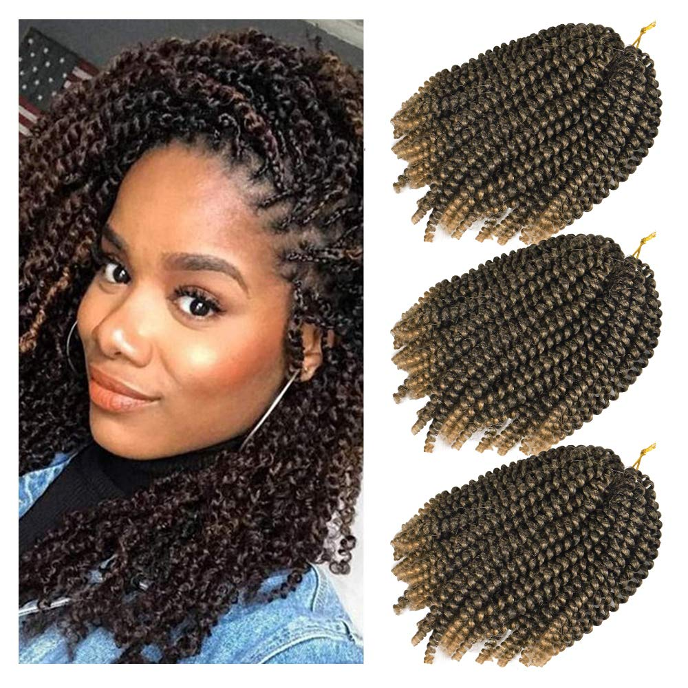 3 Pack Spring Twist Hair Crochet Braids Ombre Colors 8inch Synthetic Braiding Hair Extensions (T1B/27)